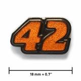 Pin «42» | Schwarzer Nickel, transparentes Orange