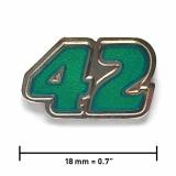 Pin «42» | Nickel, transparentes Türkis
