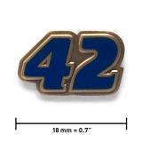 Pin «42» | Altgold, transparentes Blau