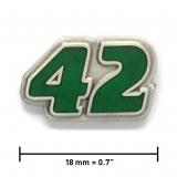 Pin «42» | Altsilber, transparentes Grün