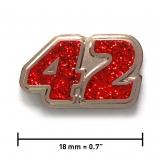 Pin «42» | Nickel, Glitzerrot